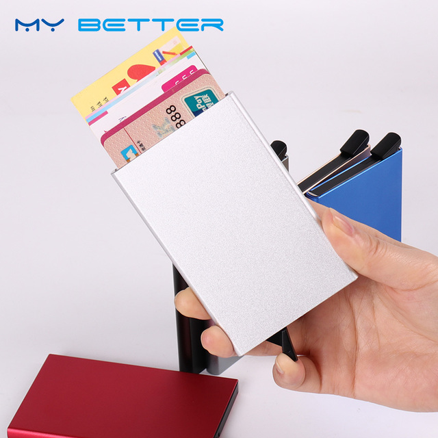 Automatic Pop Up Slim Thin Men Business Card Case Aluminum Alloy Women Bank Credit Card Package Credit Card Box Holder