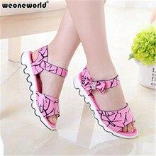 WEONEWORLD Children Shoes Girls Sandals 2017 New Summer Girls Leather Lovely Bowtie Princess Teens Sandals Kids Fashion Shoes