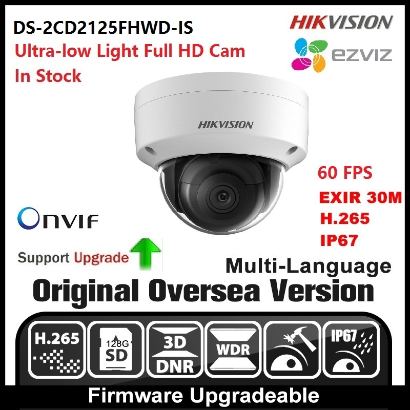 HIKVISION DS-2CD2125FHWD-IS English version 3MP IP camera Security camera POE ONVIF P2P CCTV camera H265 Network Camera hikvision ds 2de7230iw ae english version 2mp 1080p ip camera ptz camera 4 3mm 129mm 30x zoom support ezviz ip66 outdoor poe