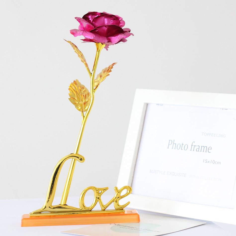 Wedding Favor Never Fade 24k Gold Rose Red Lovely Pink Long Stem ...