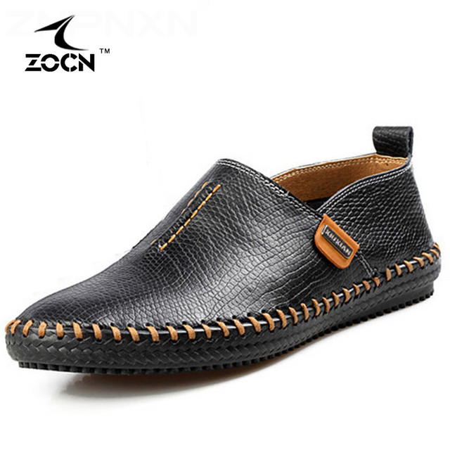 Split Leather Men Casual Shoes Spring Autumn Mocassim Men Flats Shoes Elastic Band Loafers Men Shoes Leather Sapato Masculino