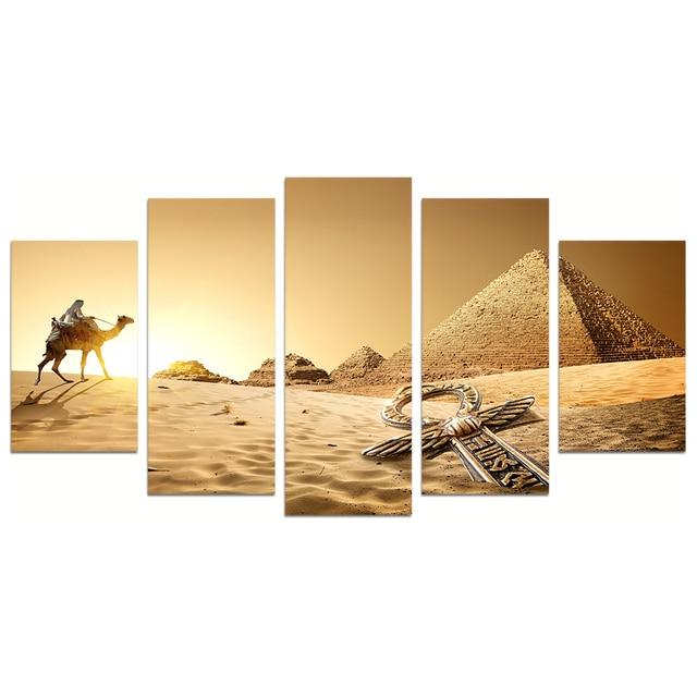 HD Prints 5 Pannel Wall Decor Egyptian Pyramids Painting Beautiful ...
