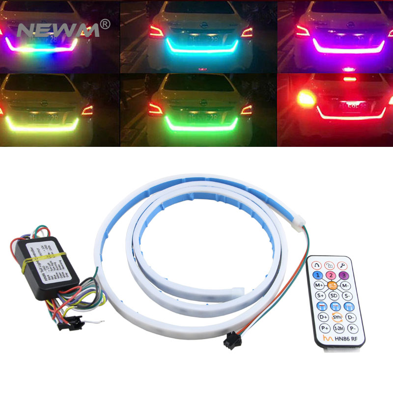 RF Wireless Controller RGB Colorful Flow Led Strip for Car Trunk Dynamic Streamer Blinkers led Turn Tail Tailgate Warning Light ac 100 240v led dmx512 rgb controller 86 glass touch panel rf 2 4g dmx512 signal dx3 for rgb led strip free shipping