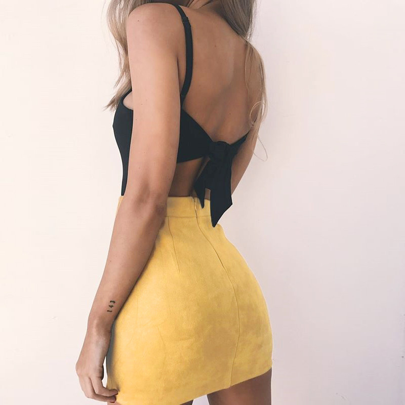 5133317da3 Pofash New Suede High Waist Cross Bandage Pencil Skirts Solid Pink Yellow  Sexy Package Hip Women Mini Skirt Ladies Party Skirts-in Skirts from Women's  ...
