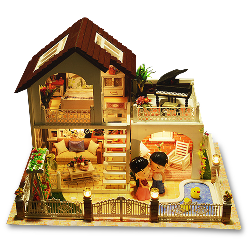 Perfect Holiday Miniature Villa Dollhouse Furniture Kits DIY Wooden Dolls House With Music And LED Lights Christmas Gift