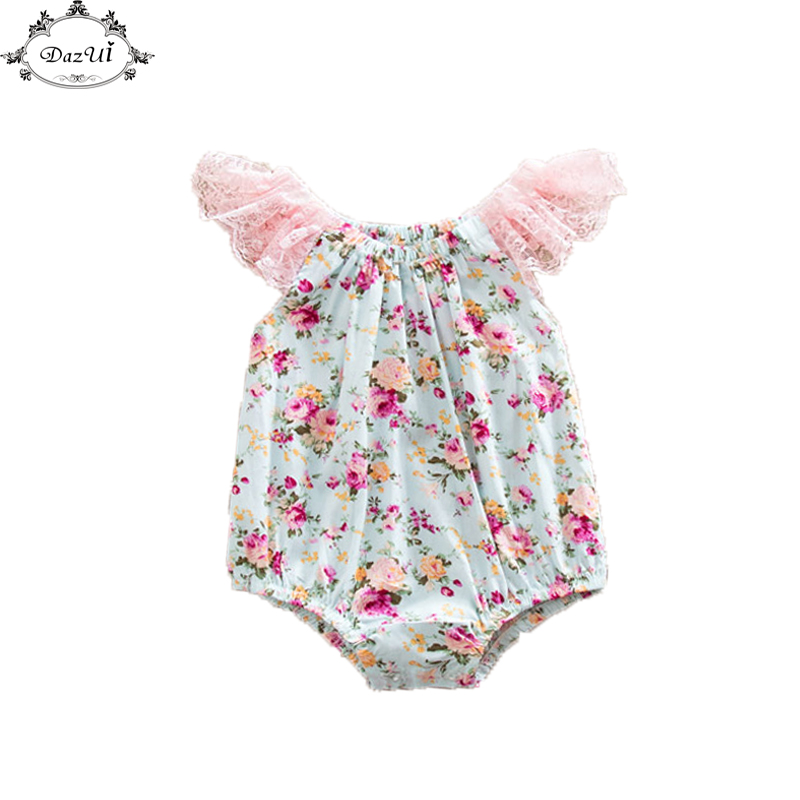 Baby Girl Ruffle Sleeve Romper Sunsuit Floral Bubble Romper Pattern Lace Flutter Sleeve Baby Romper Floral Toddler Romper