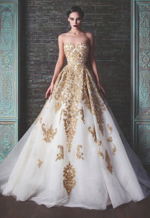 Vintage Gold Beaded Appliques Ball Gown Strapless Wedding Dresses 2017 Colorful Long Sparkly Brides Bridal Gowns With Color In From Weddings