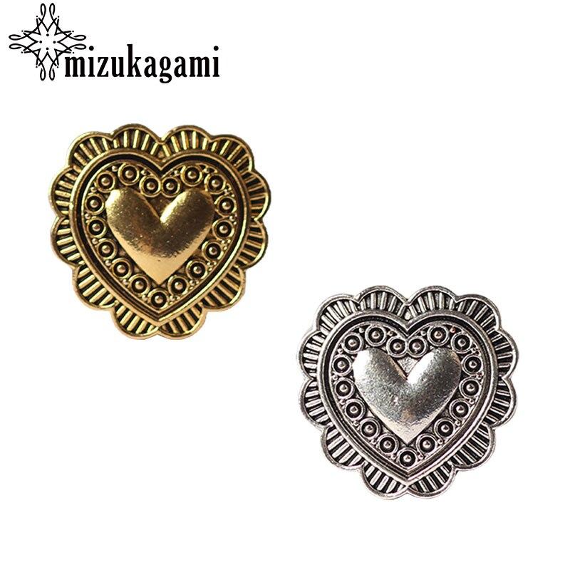 3pcs/lot 27MM Retro Zinc Alloy Sweet Heart Silver Gold Decorative Buttons Charms Pendants For DIY Accessories