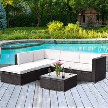 4 pcs Patio Rattan Cushioned Outdoor Rattan Wicker Chaise Lounge Love Seat Steel Tube Construction Water Resistant Beach Chairs(China)
