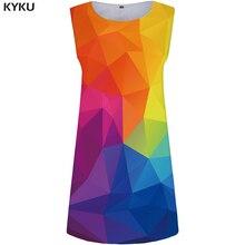 KYKU Graphics Dress Women Colorful Sundress Party Beach Geometry 3d Print Anime Womens Clothing Vintage Ladies Dresses New