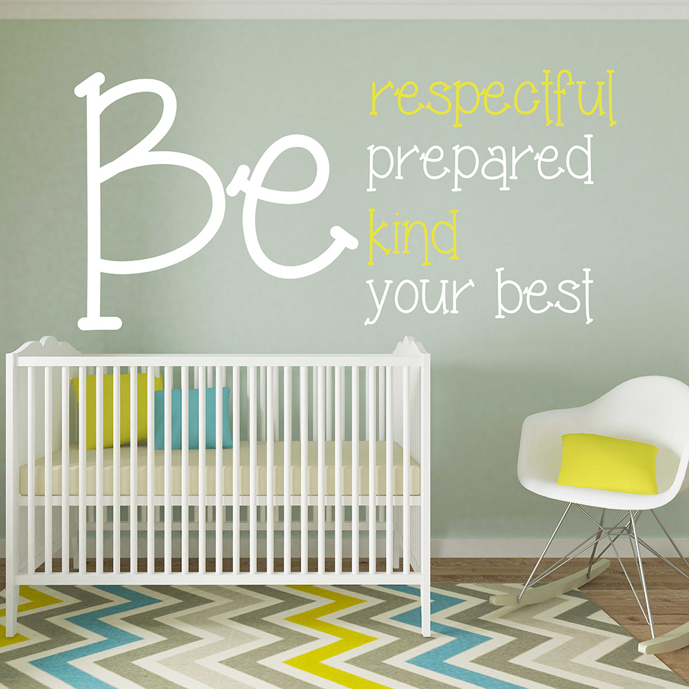 Be Respectful Be Prepared BeKind Be Your best Inspired Quote Wall Sticker Inspired Removable Decal for Living Room Bedroom 675Q image