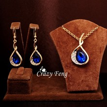 New Fashion 18k Gold Plated Jewelry Set Blue Green White Sapphire Austrian Crystal Pendant Necklace + Earrings for Women