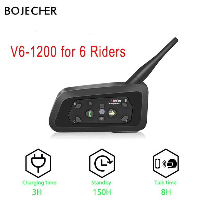 V6 interphone 1200 M moto rcycle casque bluetooth casque casque haut-parleur sans fil intercomunicador moto pour 6 coureurs MP3