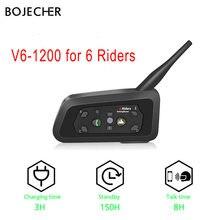 V6 Intercom Motorrad helm Bluetooth headset Kopfhörer 1200M 850mAh Lautsprecher Drahtlose intercomunicador 6 Fahrer MP3 Sprech