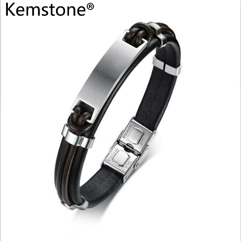 Kemstone Trendy Genuine Leather Stainless Steel Black Bangle Bracelet Jewelry Men Gift