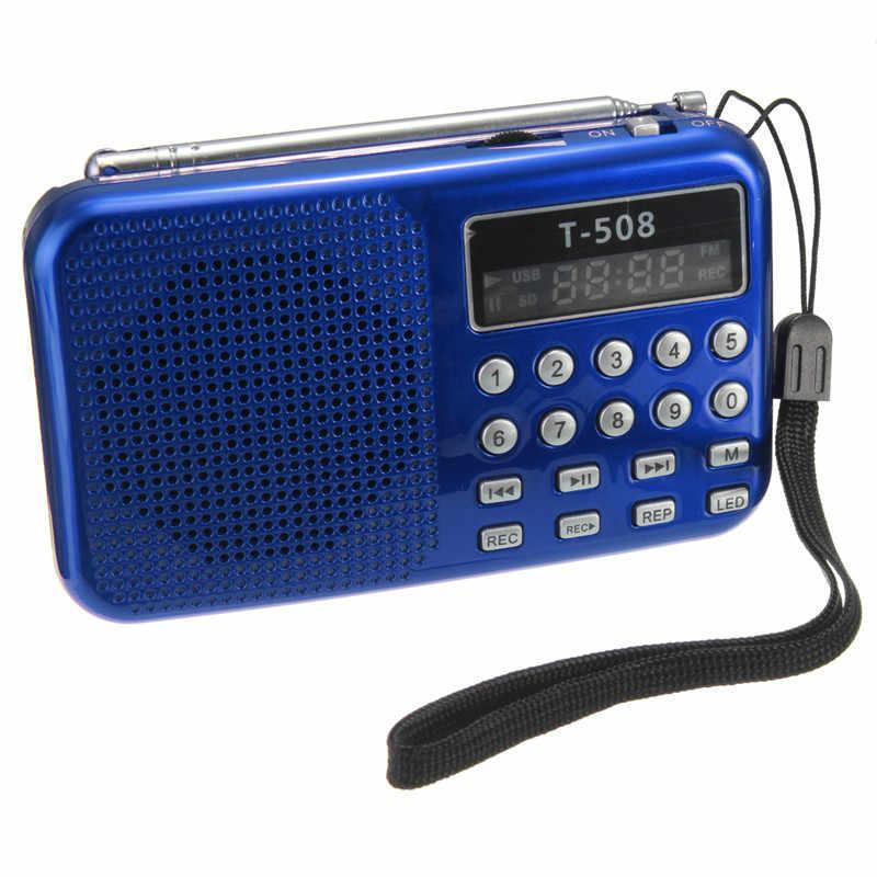 Leory高品質ミニポータブル50ミリメートル内部磁気t508 ledステレオfmラジオスピーカーのusb tfカードmp3音楽プレーヤー