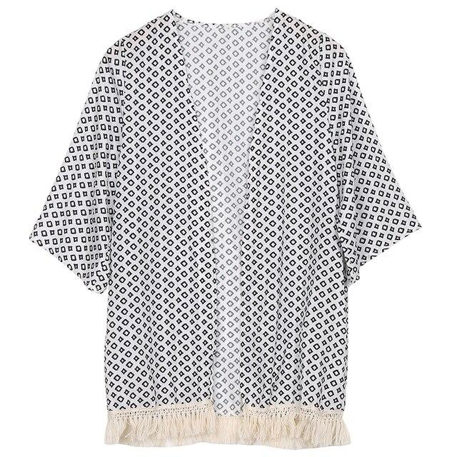 f6b20060b1ca2 2017 New Women Jacket Open Stitch Argyle Printed Summer Chiffon Cotton  Cardigan Tassel Female Clothing Jackets Loose Streetwear
