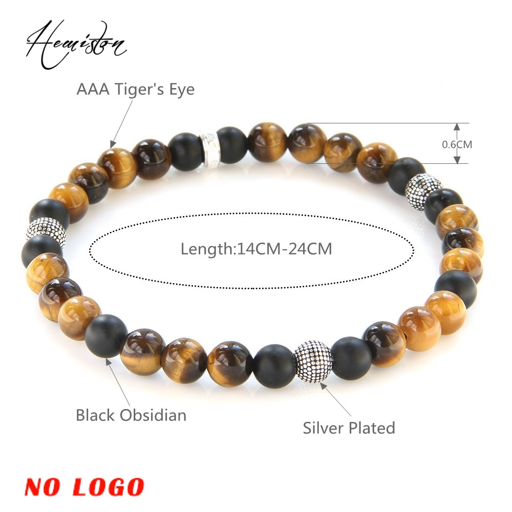 Thomas 6mm farverigt materiale mix med Tiger Eye sort Obsidian perle - Mode smykker - Foto 2