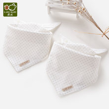 2PCS/lot Triangle Towels Set Cotton Baby Drool Bibs Soft Dots White Feeding Burp Cloths Child Apron Smock Party Shower Gift(China)