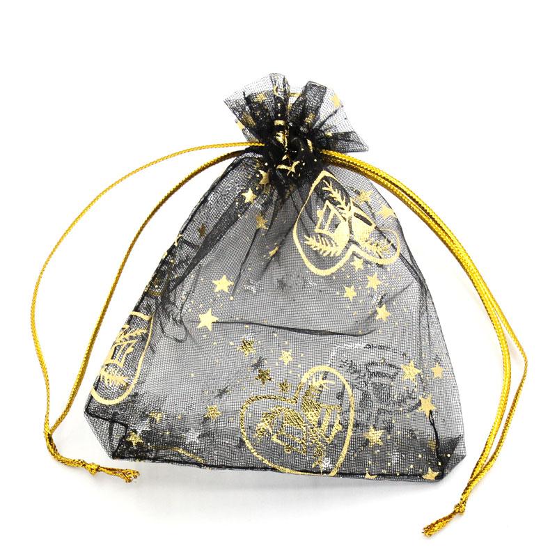 DoreenBeads Organza Organza Jewelry Bags Drawable Rectangle Black Star Pattern 11.5cm X9.5cm(4 4/8