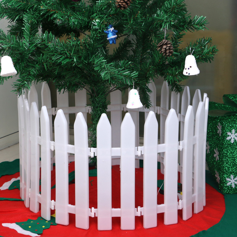 10 Pcs/lot Christmas Tree White Plastic Fence Xmas Store Home Garden Scene  Decoration Ornament