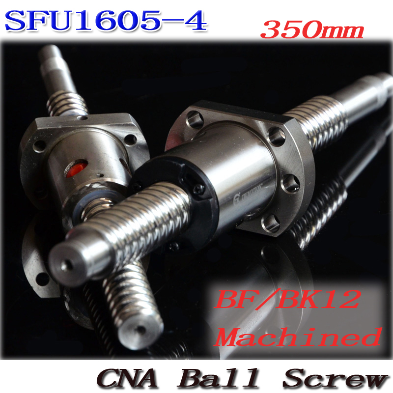 SFU1605 350mm RM1605 350mm SFU1605-4 Rolled Ball screw 1pc+1pc ballnut + end machining for BK/BF12 standard processing