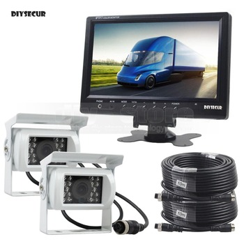 DIYSECUR 9inch Car Monitor Rear View Monitor Waterproof CCD Camera Parking Accessories Kit for Bus Horse Trailer Motorhome White