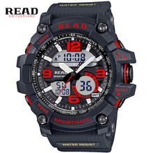 READ Mens Watch Large Digital Military Sports Clock Luminous Big Dial Stop Casual Fashion Wrist Men Waterproof