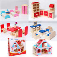 Big size wooden doll house toys solid wood dollhouse furniture toys for children rooms Kids baby 3 kg big doll villa classic toy