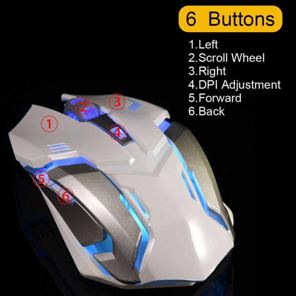 2.4G Optical Wireless Gaming Mouse Rechargeable Silent Mice 6 Buttons Adjustable DPI LED Light