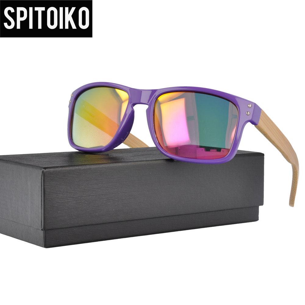 SPITOIKO obdélník polarizované sluneční brýle pánské mužské zrcadlo bambusový chrám sluneční brýle sluneční brýle UV400 1207