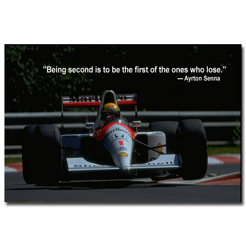 NICOLESHENTING Ayrton Senna da Silva Car Racer Art Silk Poster Print 13x20 inches Sports Pictures Living Room Decor 014