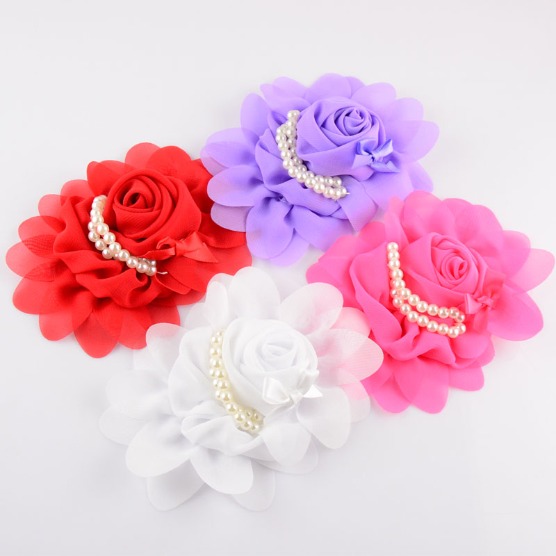 100pcs lot 20C girls Boutique Chiffon Hair Flower With Imitation Pearls Weeding Flowers For Women TH19