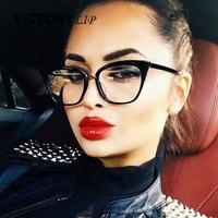 VictoryLip Cat Eye Women Clear Sunglasses Brand Designer CatEye Hot Sun Glasses Female Popular Fashion 2017