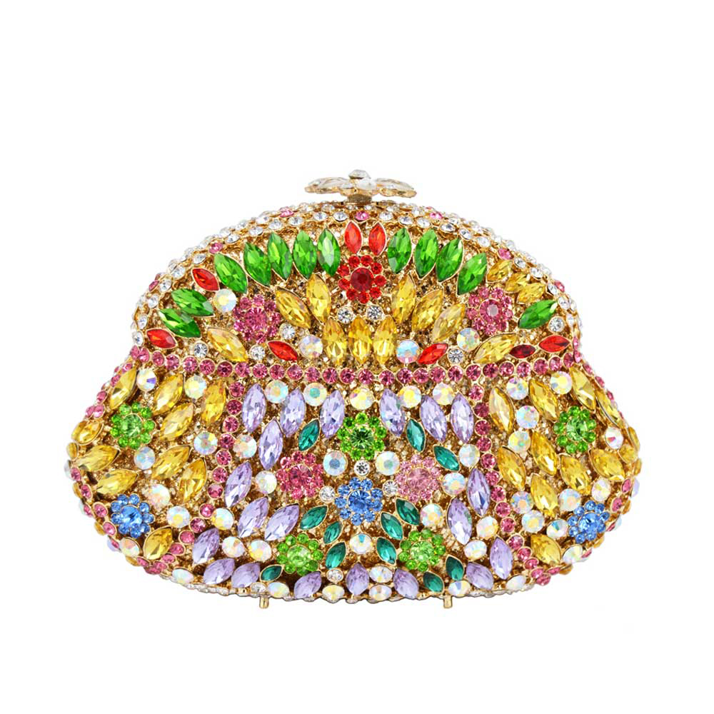 Colorful Beautiful Luxury Crystal Diamante Evening Clutch Bag Green Elegant Gourd soiree pochette for Ladies banquet Bag 88187Colorful Beautiful Luxury Crystal Diamante Evening Clutch Bag Green Elegant Gourd soiree pochette for Ladies banquet Bag 88187