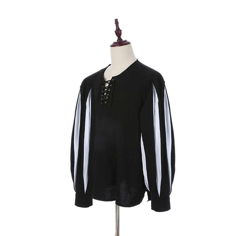 Мужской средневековый рыцарь-воин, туника, рубашка с поясом, костюм ларпа, пирата, черный топ на шнуровке, одежда для паладина, большие размеры