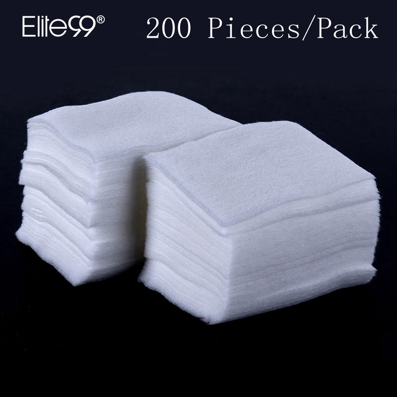 Elite99 200pcs / pack 네일 코튼 와이프 네일 클린 와이프 네일 아트 툴 린트 페이퍼 패드 UV 젤 매니큐어 리무버 매니큐어