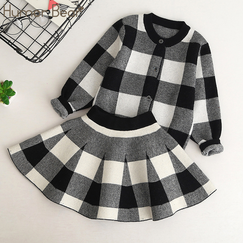 Humor Bear Autumn 2017 New Girls Clothing Sets Casual Long Sleeve Plaid Jackets+Skits 2Pcs Suits for Kids Set bear leader girls sets 2017 new autumn pink houndstooth knitted suits long sleeve plaid sweater skit 2pcs kids suits for 3 7y