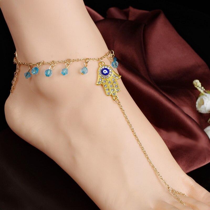 new girls Beach foot chain gold hamsa anklet bracelet trendy Eye ankle bracelets on the leg