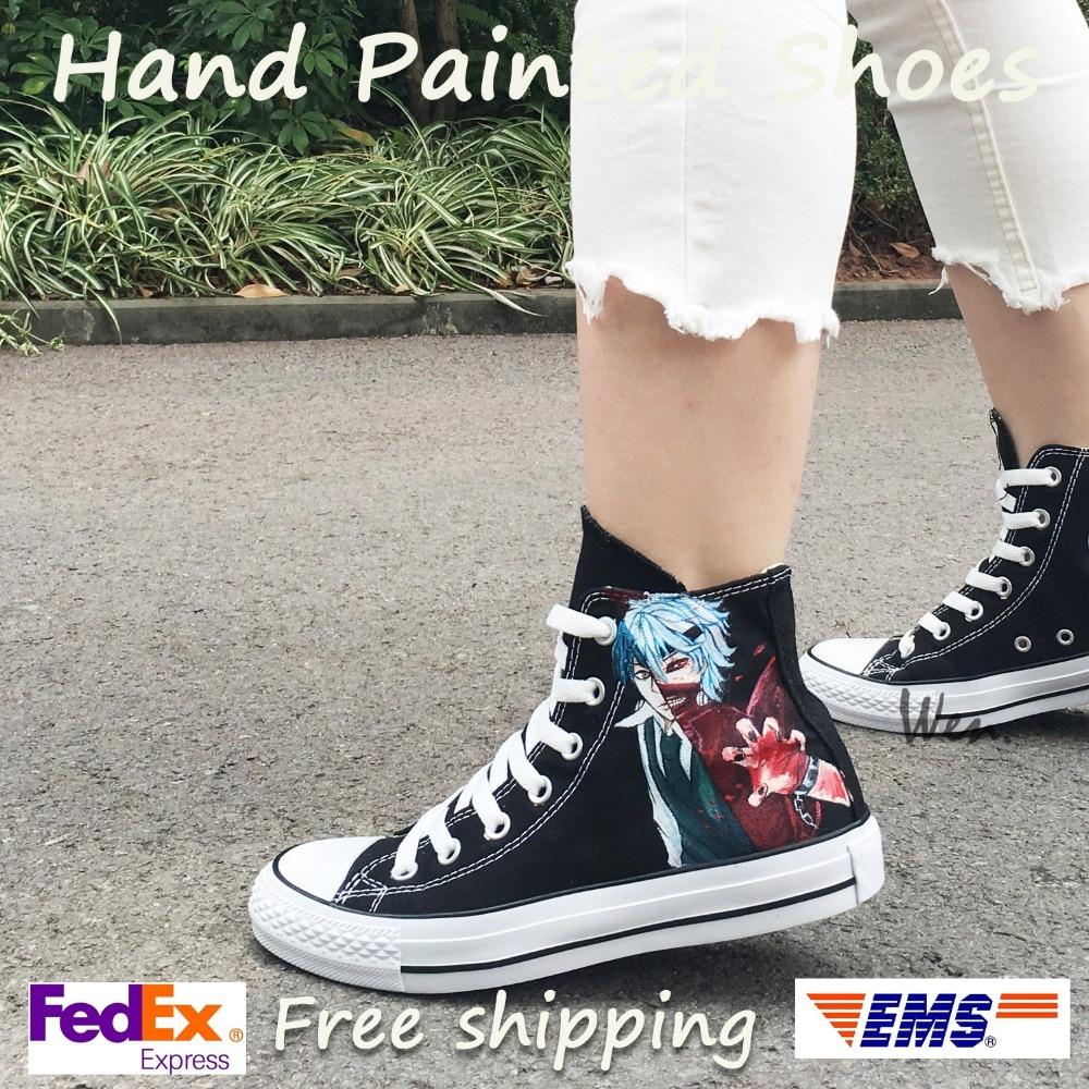Wen Anime kézzel festett cipő Design egyéni Tokyo Ghouls fekete férfi női felső felső vászon cipők gördeszka