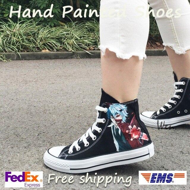 d76188b9dfe8 Wen Anime Hand Painted Shoes Design Custom Tokyo Ghouls Black Men Women s  High Top Canvas Sneakers For Skateboarding