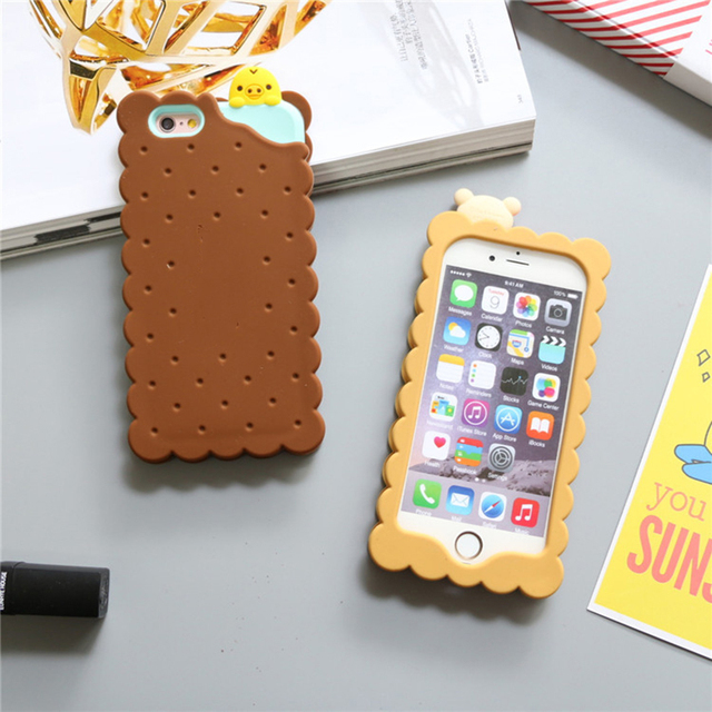 superior quality b0d69 69aa4 US $4.36 5% OFF|Cute Rilakkuma Biscuit Shape Phone Bags & Cases For iPhone  6 6s 6Plus 7 8 8Plus Soft Silicon Phone Back Case Cover-in Fitted Cases ...