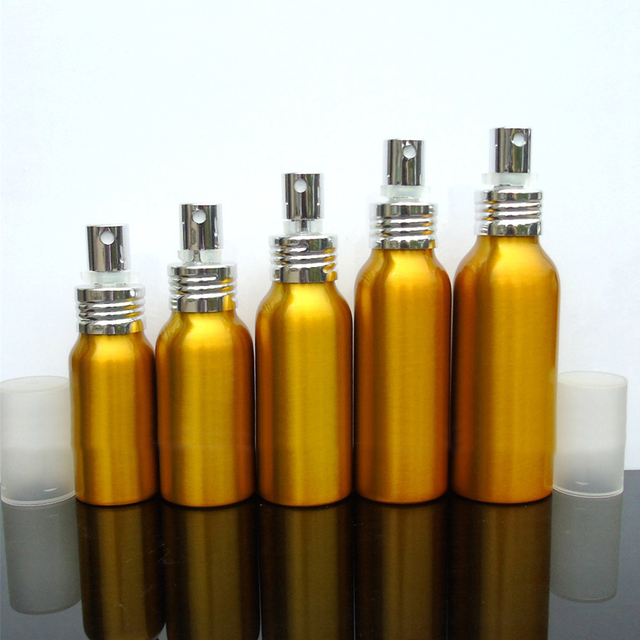 30-50pcs 30/50/60/80/100ml Aluminum gold empty spray bottle Fine Mist Refill cosmetic spray jar Sample travel subpackage bottles