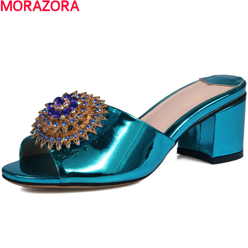MORAZORA rhinestone heels shoes in summer non-slip Solid colors sandals women platform shoes fashion big size 34-40 new arrive taoffen women shoes women sandals wedge heels platform summer shoes leopard slip on slippers trend fashion shoes plus size 33 43