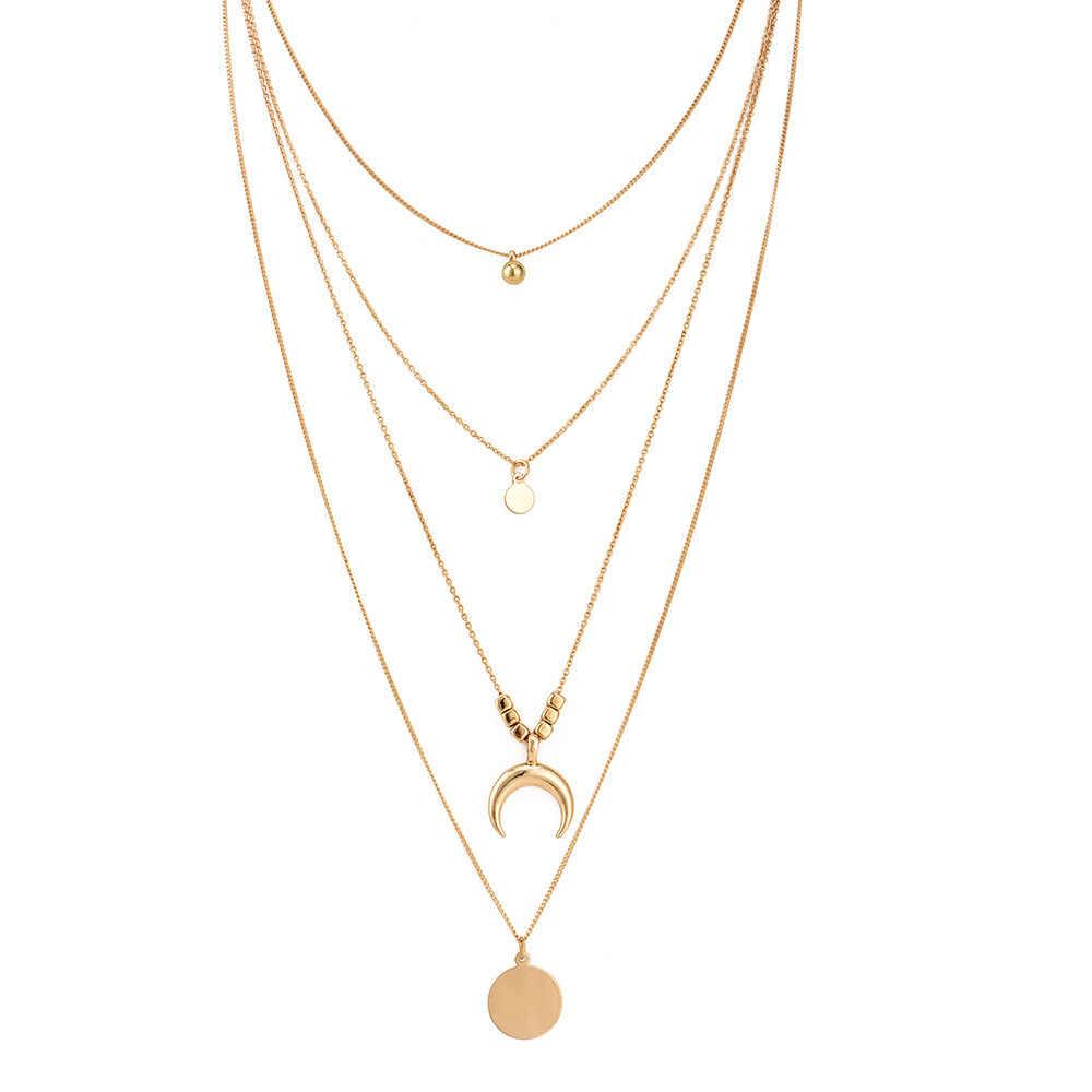ファッション多層ネックレス & ペンダントヴィンテージムーンチョーカー女性ゴールドコリアーファムパーティージュエリー