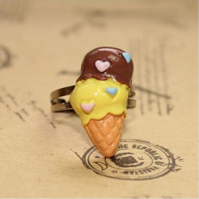 24pcs/lot resin food kawaii love heart ice cream charm Cabochons Ring Childrens Fashion Jewelry For Girl Boy Christmas Gift