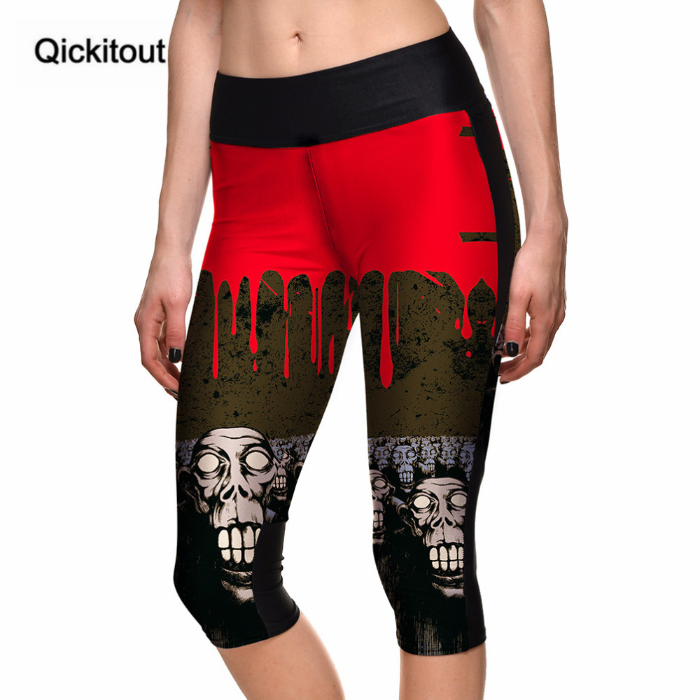 Qickitout Capri Pants Women's 7 Point Pants Women's Halloween Blood Drop Skull Digital Print High Waist Side Pocket Phone Pants