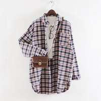 Women Blouses Autumn Plaid Shirt Long Sleeve Blouse Female Shirts Plaid Blusas Femininas Flannel Womens Tops