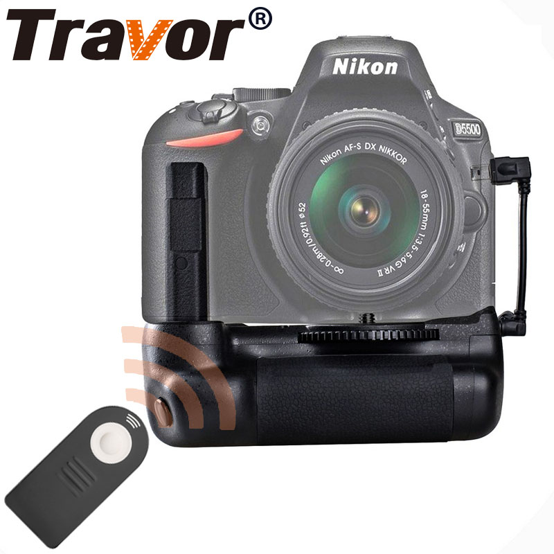 Travor vertical battery grip holder for Nikon D5500 D5600 DSLR Camera with IR function work with EN-EL14a battery battery hand handle grip holder 2 step vertical power shutter for nikon d200 dslr camera as mb d200 2 x en el3e car charger
