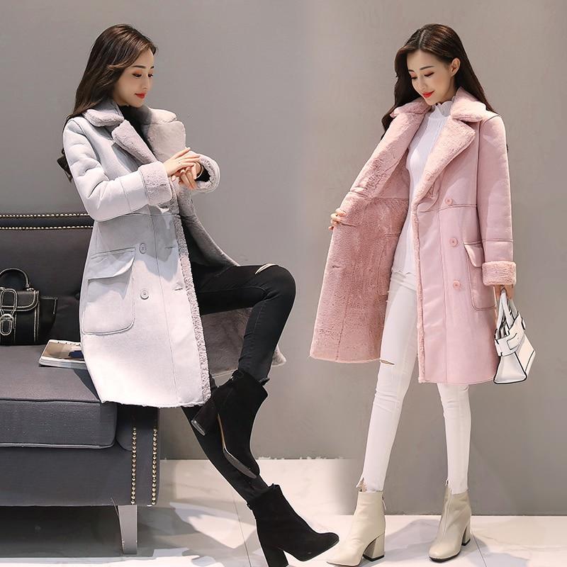 Kaban Vente 2017 Peau Femmes Gray Manteau pink D'hiver Solide Long Veste Laine Chaude Breasted Double vent Nouveau Bayan Coupe Daim Agneau Hiver De xYqdg4qrw